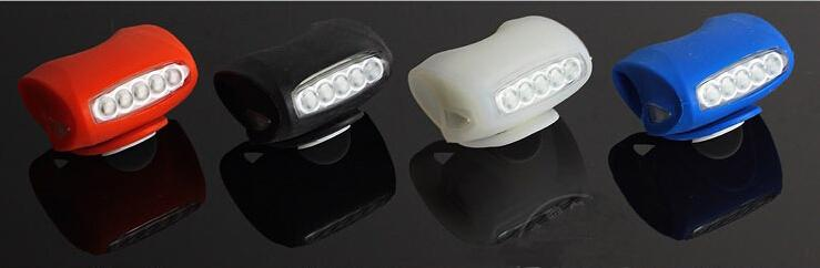 7 Led Bike Front Tail Light Silicone Gel 5 Led White With 2 Led