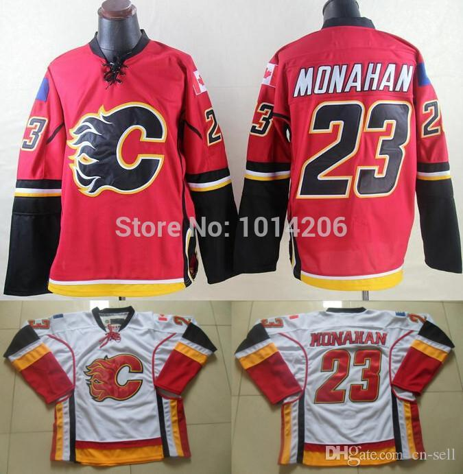 b6303f8e8 Sean Monahan Jersey Red Home White Away  23 Men s Calgary Flames Ice ...