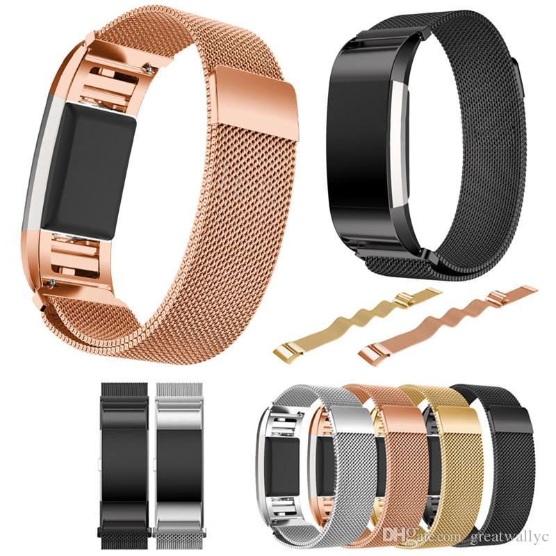 핏 비트 충전이 자기 밀라노 루프 밴드 팔찌 스테인레스 스틸 시계 밴드 스트랩 핏 비트 충전이 Smartwatch를 NO 추적기 VS DZ09