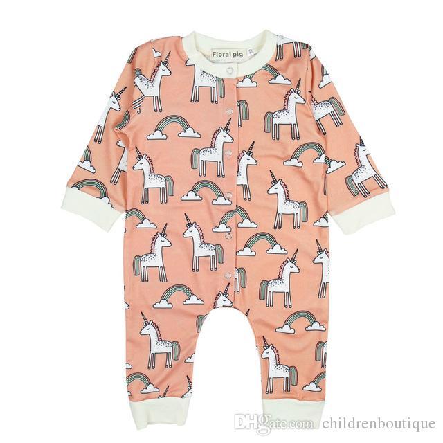 8c703251e Newborn Baby Boy Girl Clothes Cute Unicorn Printed Jumpsuit Cotton ...