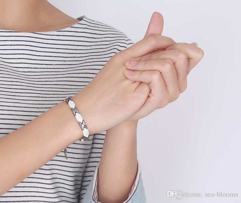 Fashion Stainless steel Ceramic Bracelets Women Healthy Magnetic Energy Bracelet Therapy Balance and Energy Ceramic Hematite Bracelet B841S