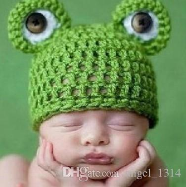 2019 Cartoon Baby Hat Crochet Knit Infant Green Frog Beanies Baby Photo  Costume Accessories Newborn Photography Props Baby Gift From Angel 1314 c65677caffe
