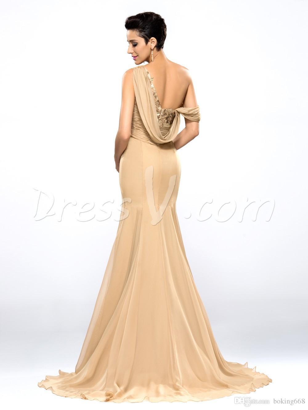 2019 I più nuovi economici abiti da sera champagne drappeggiato una spalla lunga chiffon prom dresses robe de soiree abiti da festa formale robe de soiree