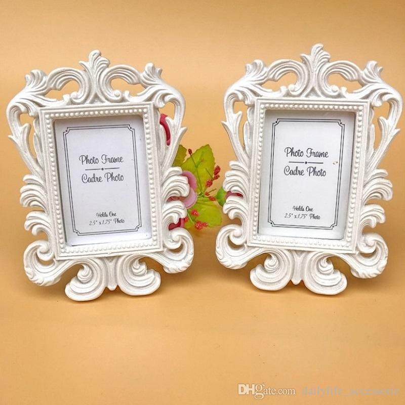 White baroque photo frame wedding place card holder picture frame