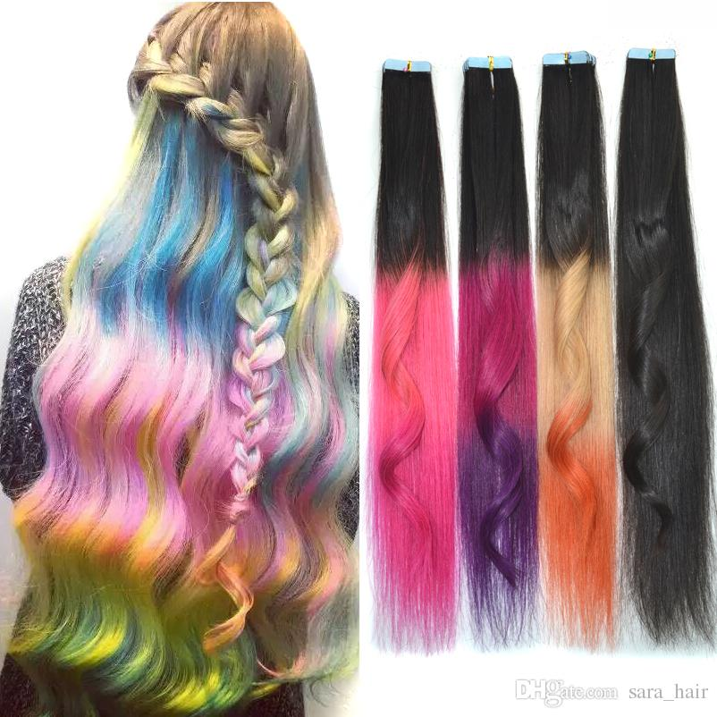 Sara glue ombre 100 real human hair extension straight clip in see larger image pmusecretfo Images