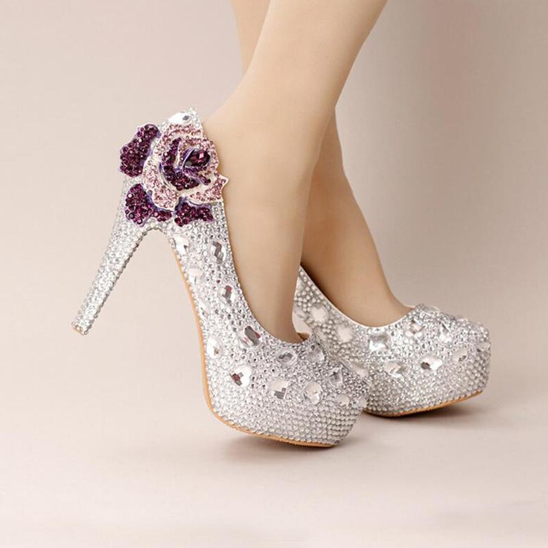 e0894b81c82 Silver Crystal Wedding Shoes Ultra High Heel Platform Bride Shoes Round Toe  Graduation Party Prom Shoes Purple Rhinestone Flower Wedding Shoes With ...