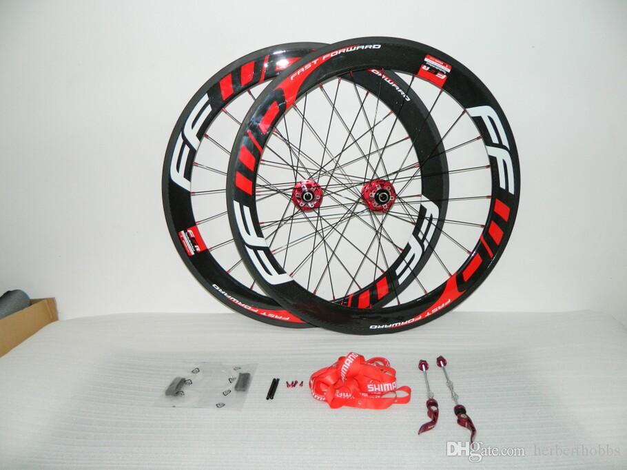 New Ffwd 60mm Bicycle Wheels Fast Forward 700c Red Carbon Fiber Road Bike Racing Wheelset Clincher Tubular