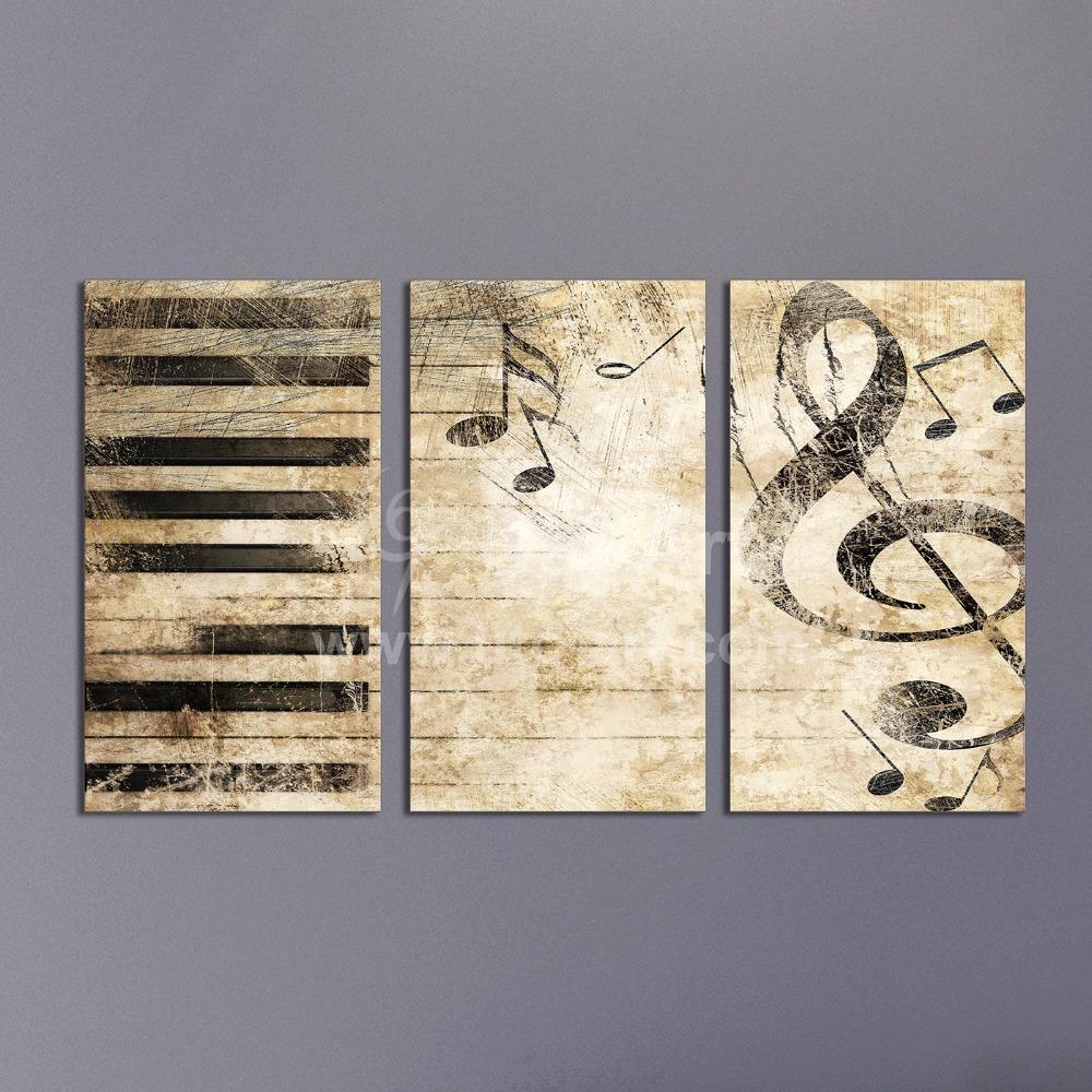 Satın Al Triptych özel çoklu Panel Tuval Boyama Piyano Müzik Dijital