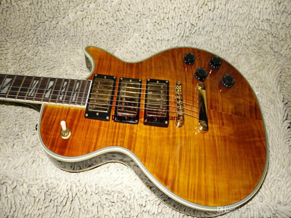 Groothandel gitaren geel 3 pickups elektrische gitaar gouden hardware beste hoge kwaliteit gratis verzending