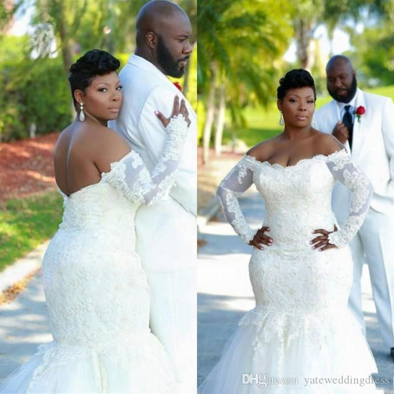White 2017 Mermaid Style Wedding Dresses Off Shoulder Africa With Lace Applique Wedding Gowns Back Zipper Plus Size Custom Bridal Dresses