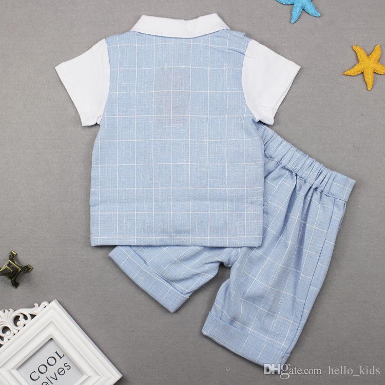 2017 Sommarbarn kostym Pojkar Plaid Gentleman Bow Fake Två bitar Kortärmad Toppar Tees + Plaid Shorts Sets Baby Kids Kläder