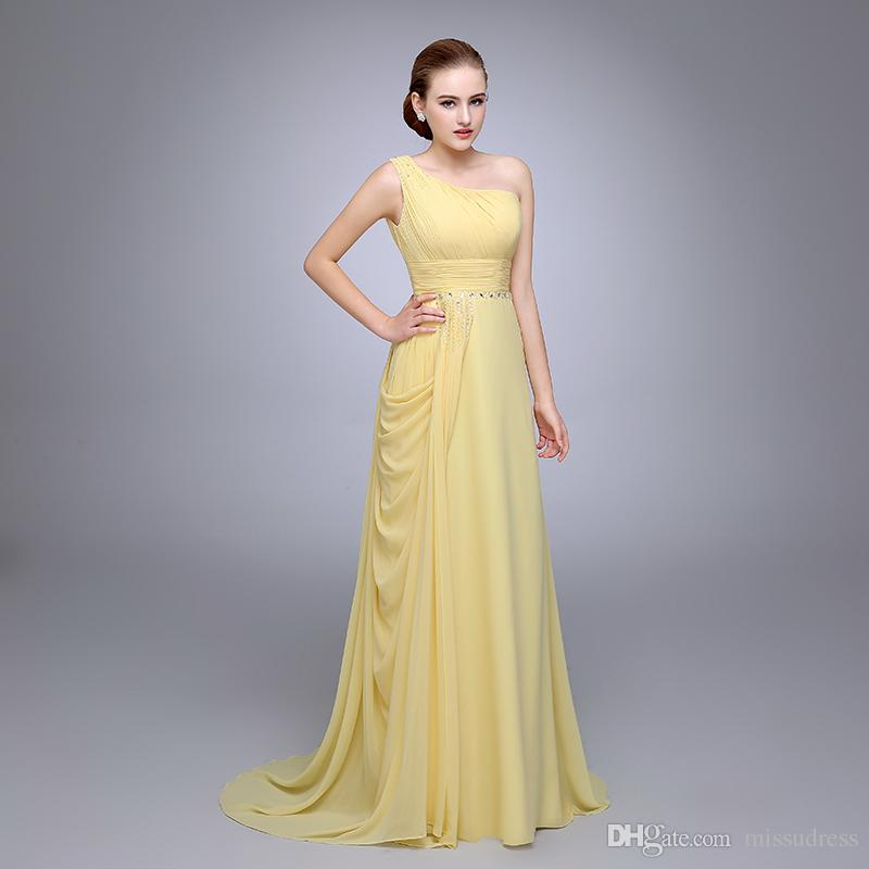 HS12 Best Selling Yellow Pleated Sleeveless Beaded Chiffon Long Evening Gown  Vestidos De Festa Vestido Longo One Shoulder Prom Dress Prom Dresses  Glasgow ... df29c673f