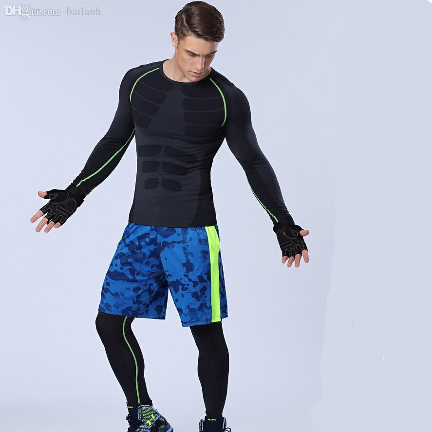 Wholesale-1set=tops + pants+shorts / Compression Men's Quick-drying breathable Sports Long Johns Suit Fitness T-shirts Body Shapers
