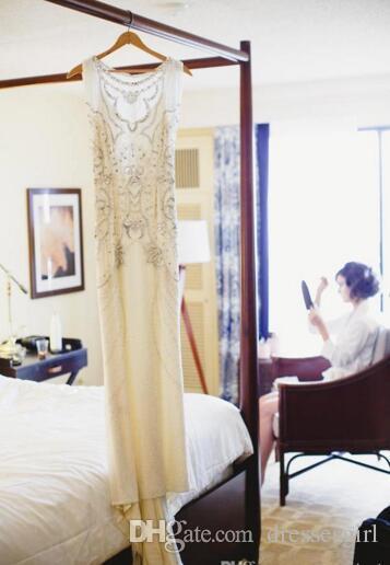 Jenny Packham Bröllopsklänningar Crepe A Line Brudklänningar med Beading Crystal Summer Beach Vestido de Novia Custom Wedding Gowns