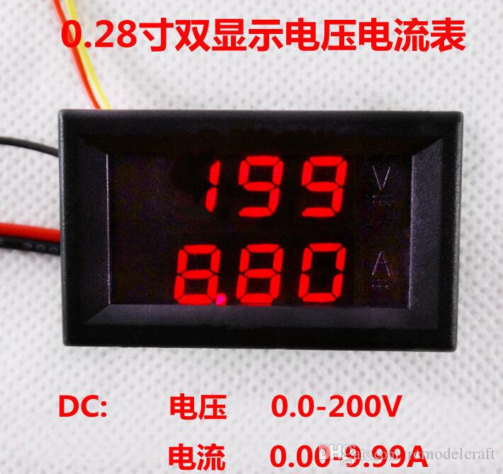 By DHL Fedex hot selling 2 in 1 red LED DC 200V 10A 0.28 inch Digital Amp Volt panel Meter Gauge Ammeter Voltmeter