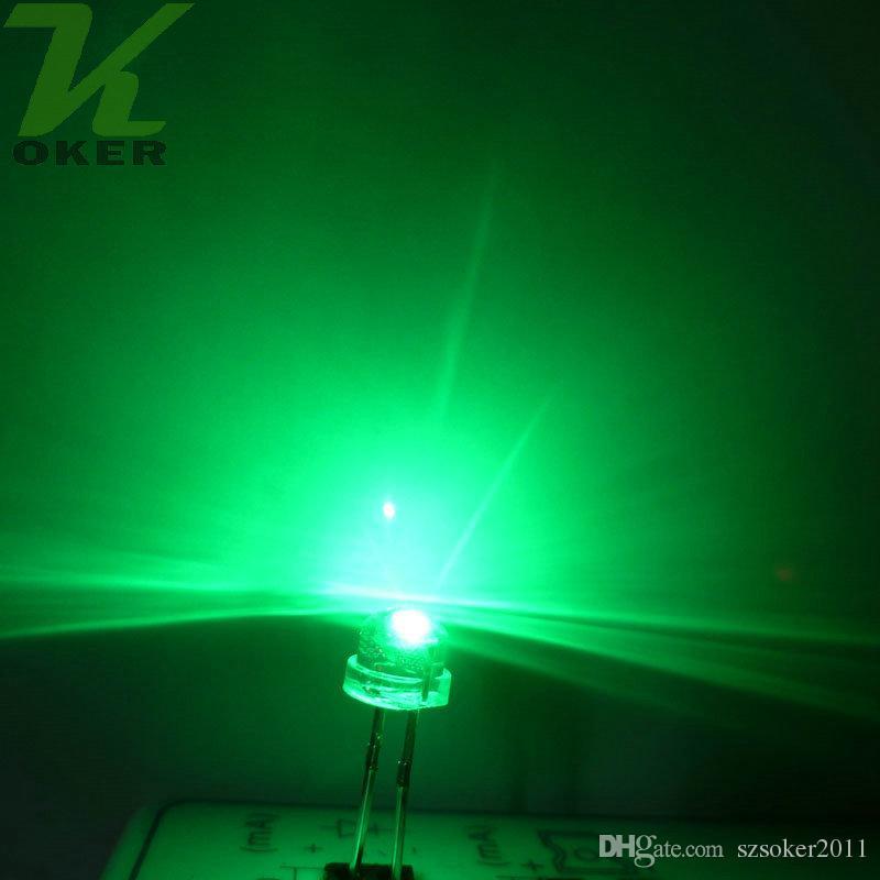 5mm chapéu de palha verde água claro lâmpada de luz lâmpada de luz emitindo diodo ultra brilhante bead plug-in kit diy prática grande angular