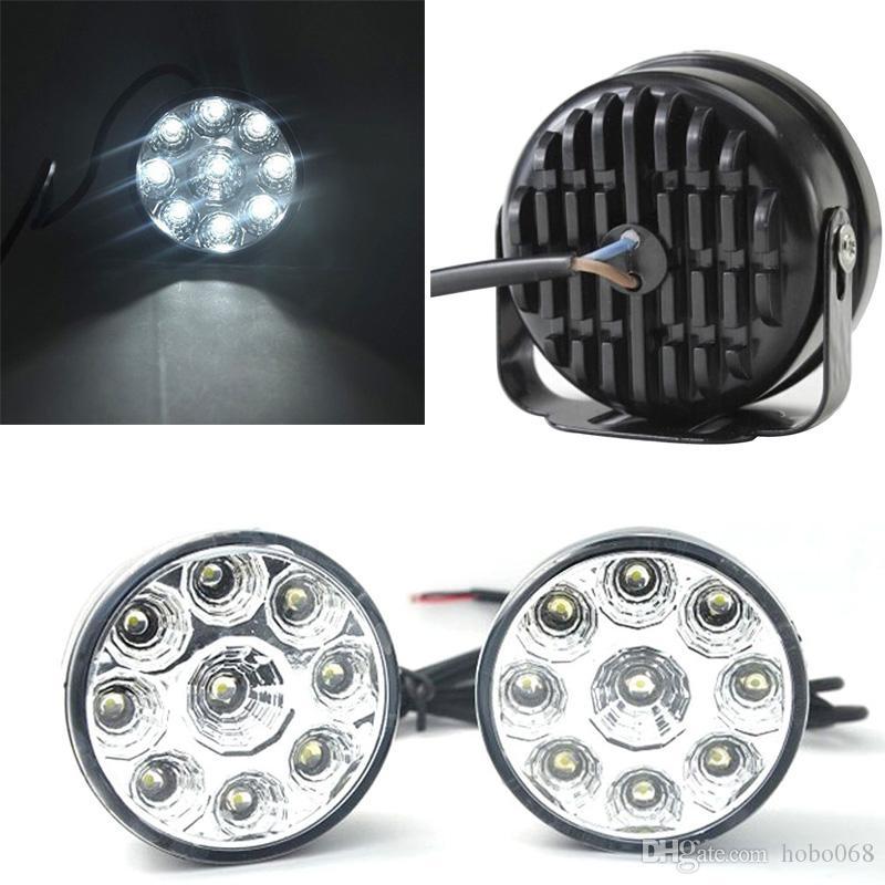 Bir Set Parça 9-LED Yuvarlak Gündüz Sürüş Koşu Işık DRL Araba Sis Lambası Süper Beyaz DIY