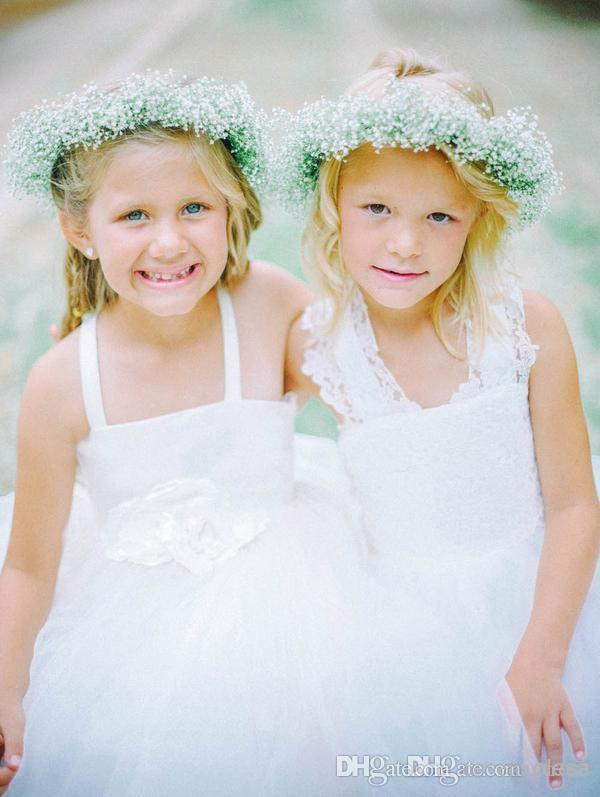 Lovely White Tulle Flower Girl Dresses Cross Straps Back Flowers Ball Gown Floor Length Girls Wedding Gown Cheap