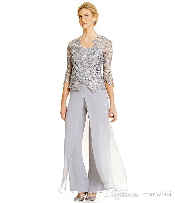 Silber Plus Size Mutter der Braut Hosenanzug mit Spitze Jacke Chiffon formelle Mütter Outfit besonderen Anlass Mutter Kleidungsstück