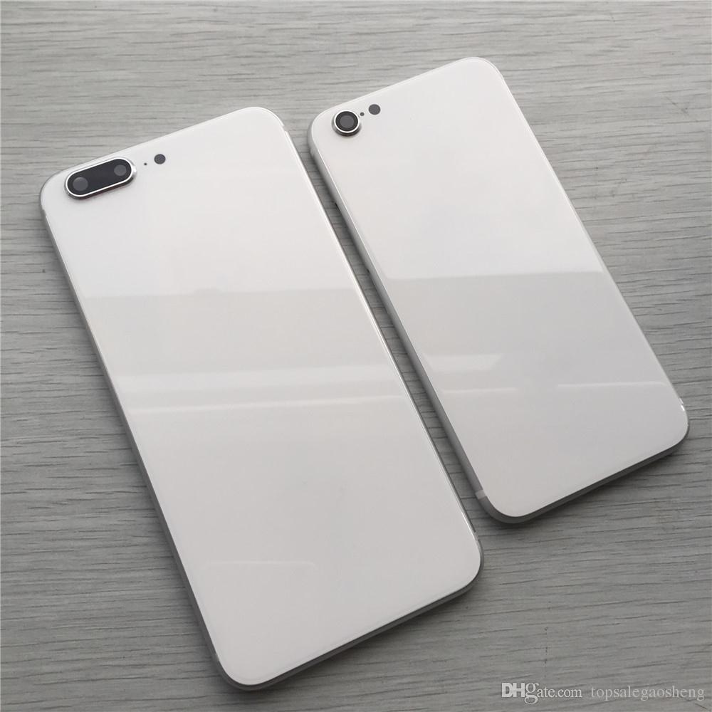 Pour iPhone 6 6 P 6 S 6 7 7 P Plus Couverture de Logement Arrière Comme iPhone 8 Style En Métal Verre Dos Couverture de Remplacement Retour Cas