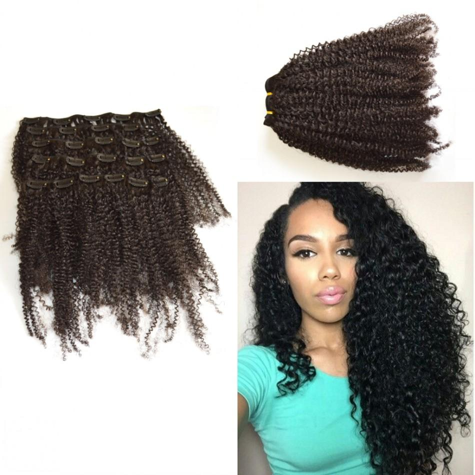 Kinky Curly Clip In Hair Extensions Natural Color Hair African