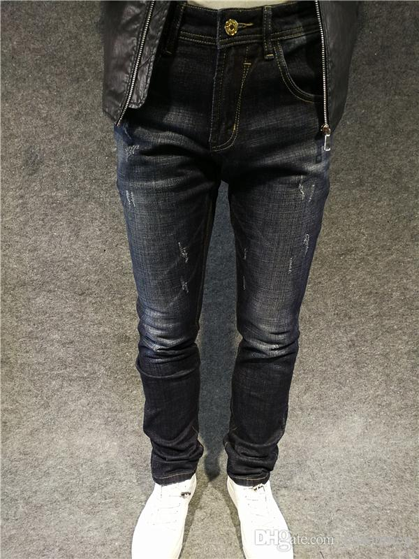 2017 узкие джинсы мужчины индиго маленькая вышивка звезда проблемные джинсы брюки для мужчин