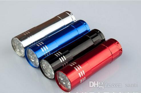 Mini lampe de traitement UV de 9 LED sans alliage d'aluminium de détecteur de devise de torche de portabilité de portabilité de batterie de portabilité