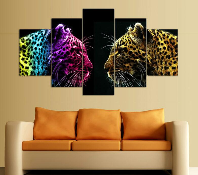 Framed Printed Leopard picture painting wall art room decor canvas art Decor For Living Room