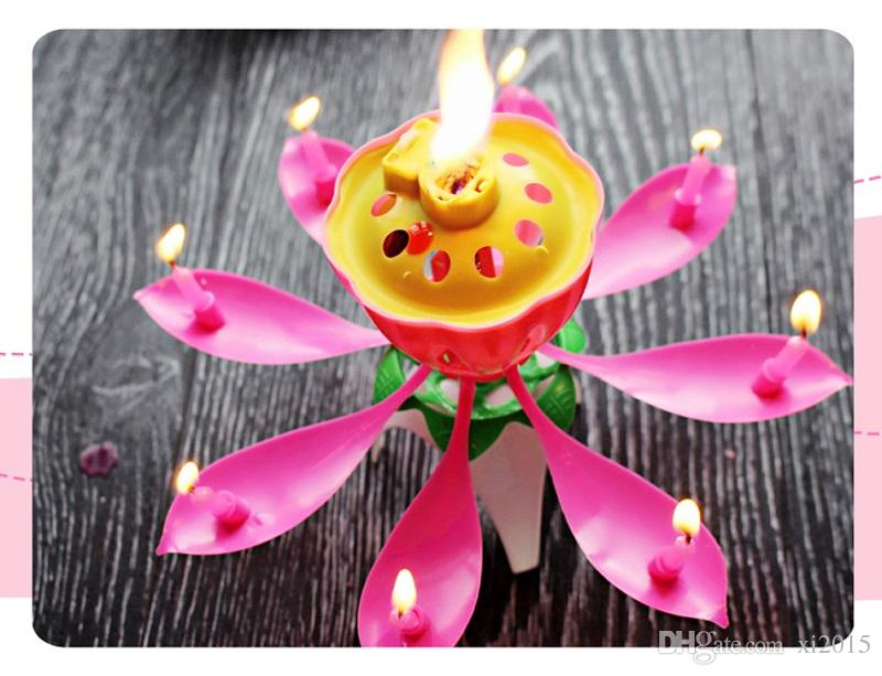 Lotus New Music Candle Birthday Party Wedding Lotus Sparkling Flower Candles Light Event Festive Supply wen4562