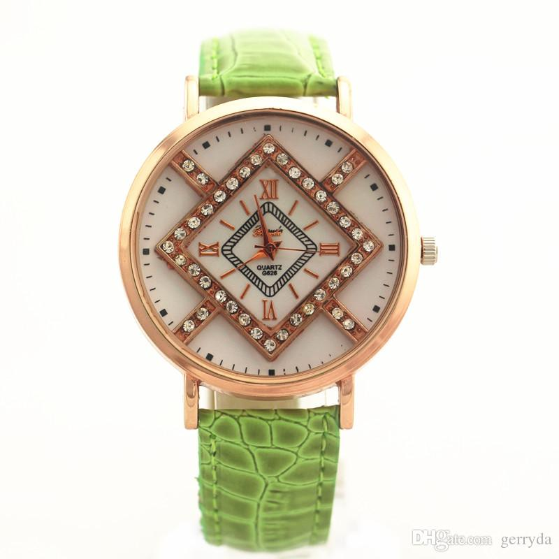 !PVC leather band,gold plate alloy round case,crystal deco under glass,Gerryda fashion woman lady quartz watches,626