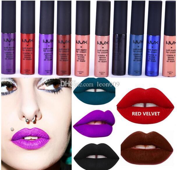 New Cosmetic Matte NUX Waterproof Lip Gloss Purple RED VELVET Long Lasting Liquid Lipstick 12Colours