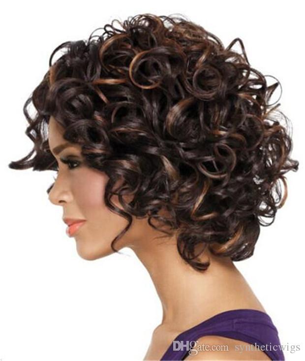 WoodFestival afro kinky lockiges Haar Perücken mittellange hitzebeständige Kunstfaser Perücke Frauen braun Mix schwarz Farbe Kostüm Mode