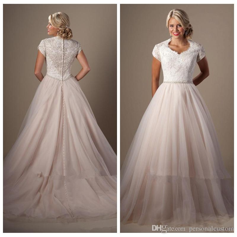 Discount lace top corset short sleeves tulle skirt wedding for Tulle wedding dress with sleeves
