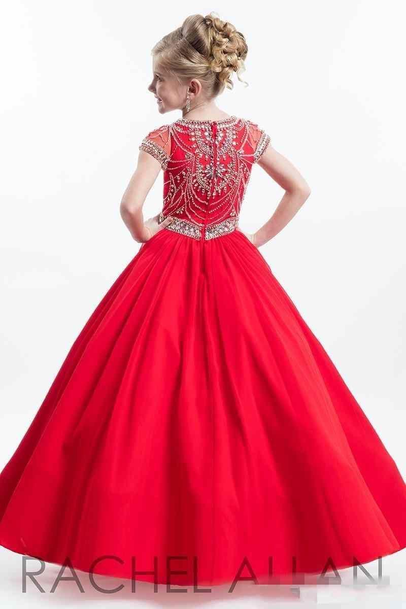 Glitz 2019 New Rachell Allan Red Mittle Kids Girl's Pageant Pageant платья с короткими рукавами Бальные платья Маленькие дети Кристаллы Цветочные Девушки Платье