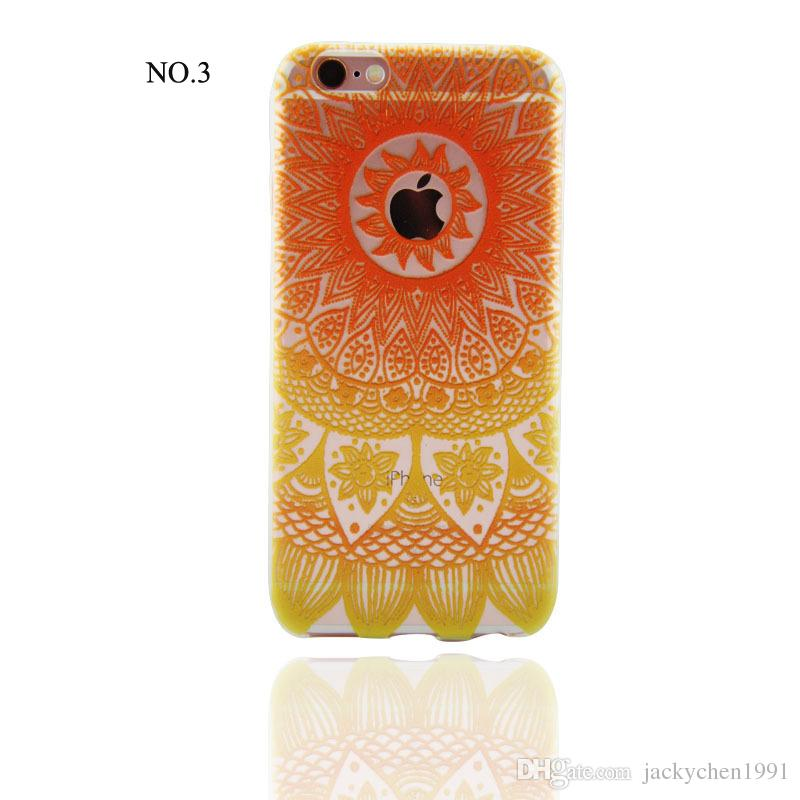 2016 Newest Colorful Henna 3D Relief Painting TPU Cover Case for iPhone 5S/SE/6/6S /6S Plus/7/7plus