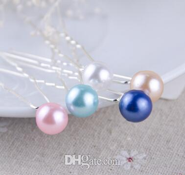 mix colour 8mm Pearl Hair Pin For Wedding Fashion Alloy Hair Clips Lady Hair Jewelry Hairpin