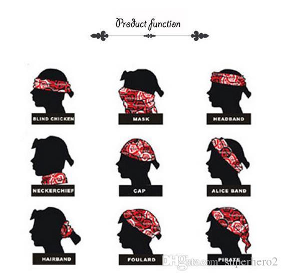 Fasce HipHop da uomo Bandana Bandana in cotone Fazzoletto Ameba Headwrap Bikers Sciarpa Fascia nastro fascia capelli arco EXO Capelli Cosplay