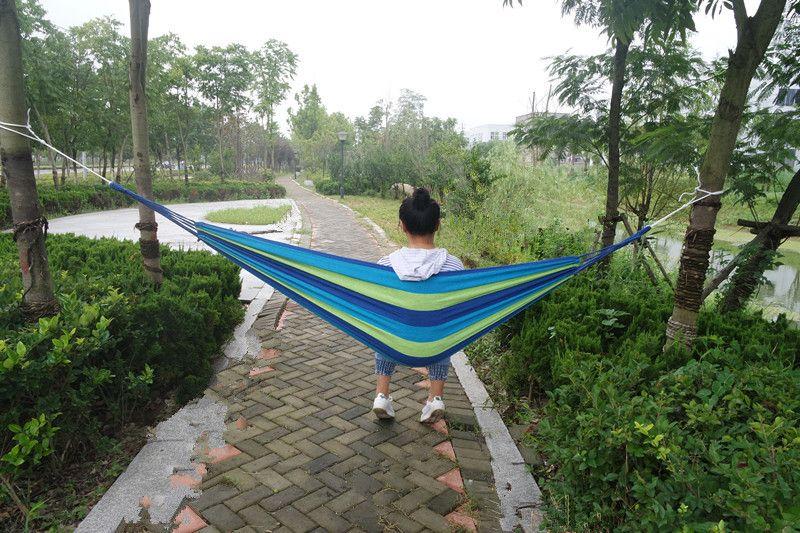 190*80cm Portable Hammock Hamac Outdoor Leisure Bed Hanging Bed Sleeping Canvas Swing Hammocks Camping Hunting ZA0941