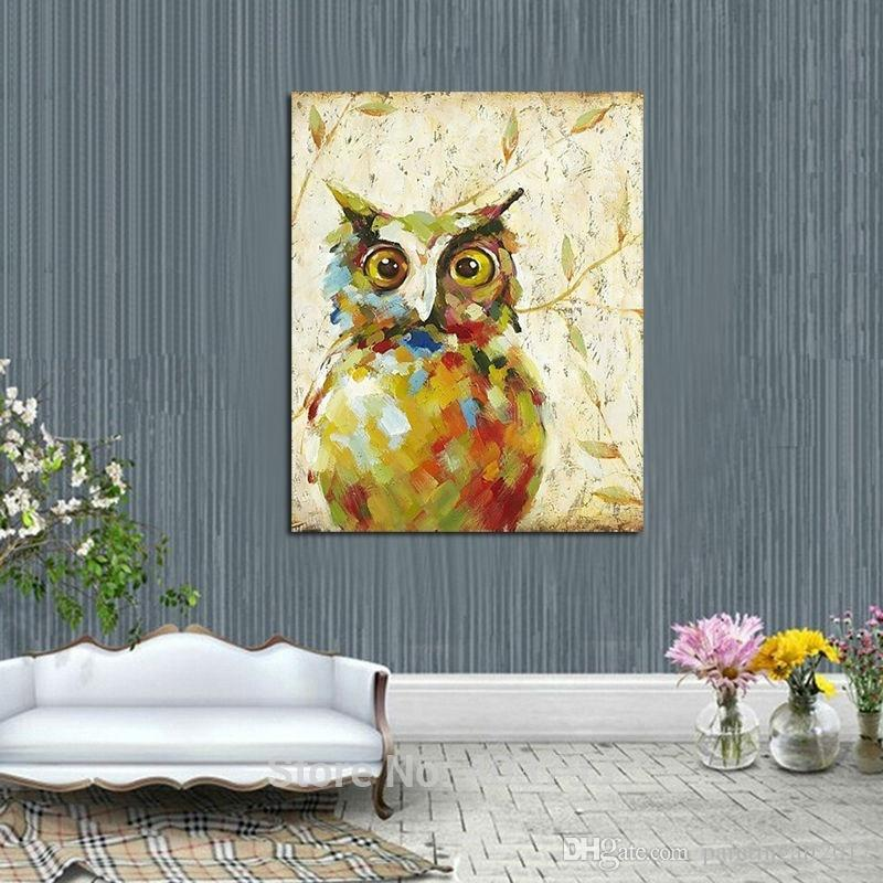 2016 New Design Cute Night Owl Oil Painting Fashion Modern Wall Art on Canvas Decorative Pictures Home Decor Christmas Gift