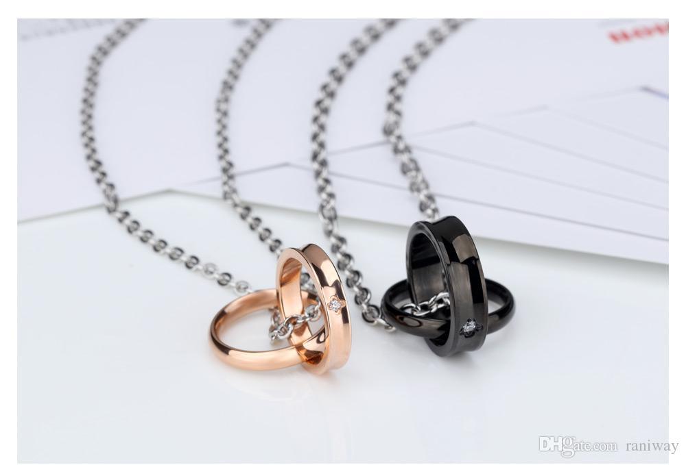 그의와 그녀의 스테인리스 매칭 목걸이 세트 망 여자 커플 반지 후크 약속 펜 던 트 발렌타인 선물