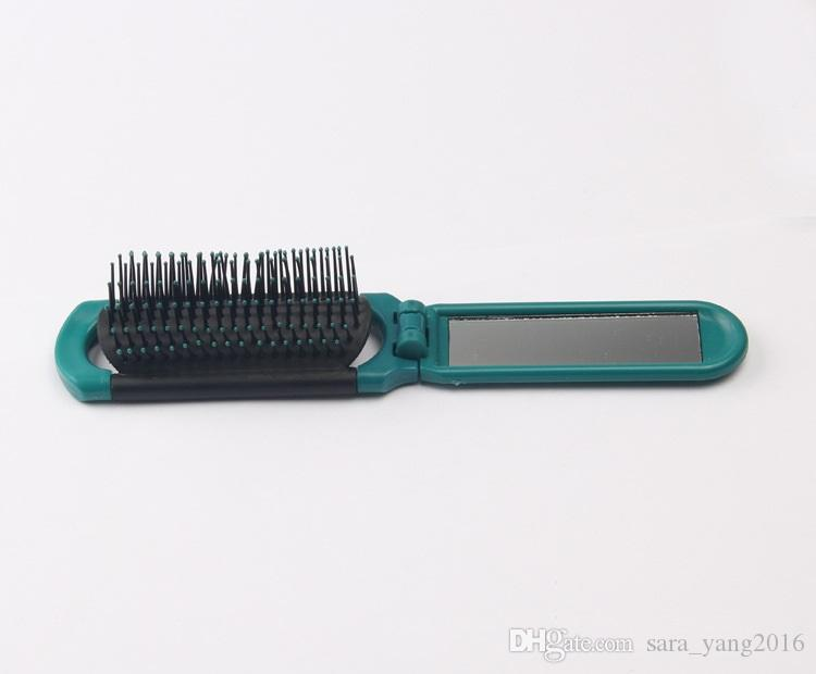 Foldable Hair Comb with Mirror Two Way Handy Hairbrush Plastic Antistatic Folding Combs for travelling wa3953