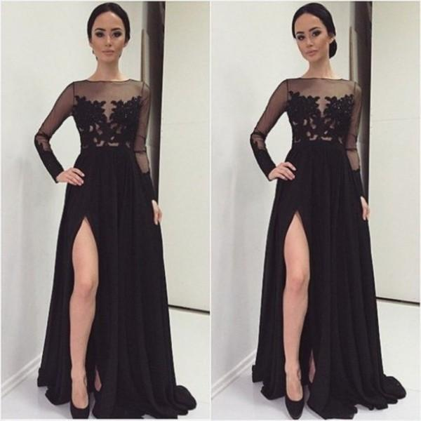 Sexy Sheer preto vestidos de noite mangas A Linha Bateau decote ilusão corpete apliques Manga comprida Ver Através Prom Party Vestido Slit