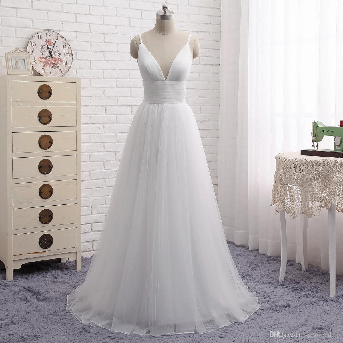 Spaghetti V Neck Tulle Vestido De Noiva Praia 2019 Sexy Vestidos De Casamento Branco Marfim Vestidos De Noiva Até O Chão
