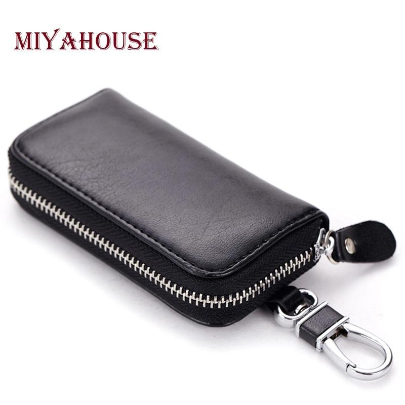 d8c983045fb9b Wholesale- Split Leather Unisex Car Key Wallet Male Keys Organizer ...