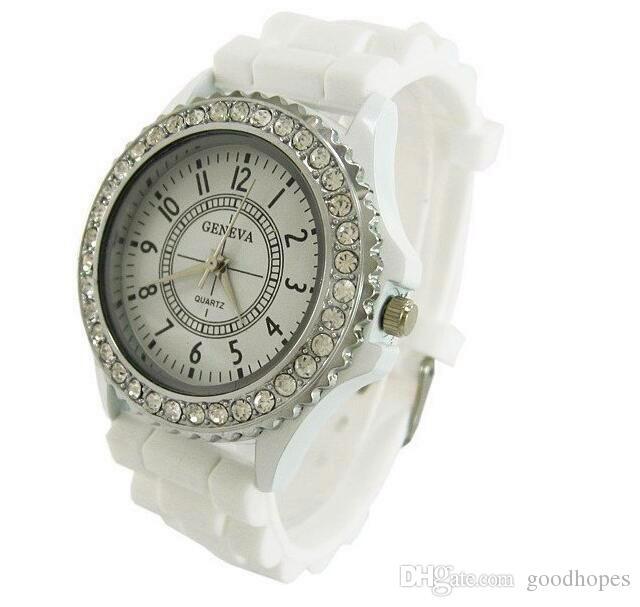 Luxusmarke Genf Uhr Kristall Diamant Giltter Gelee Silikon Uhren Männer Frauen Unisex Ziffern Quarz Armbanduhren