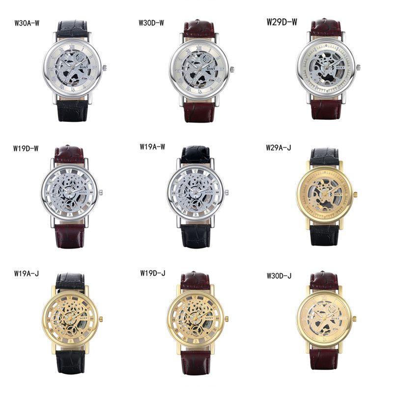Новое прибытие мода бизнес мужские часы резерв хода часы GTWH6,Кварцевые наручные часы полый циферблат ремешок часы 6 штук много цвет смешивания