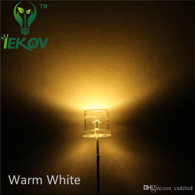 /bag 5MM Flat Top Warm White led 5mm Ultra Bright LEDs light Wide Angle Emitting Diodes Electronic Components Wholesale Hot Sale