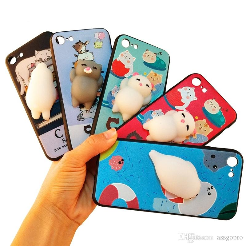 a68e503877 3D Cute Squishy Lazy Cat Panda Phone Case For IPhone 8 7 6 6S Plus Soft  Silicone Cartoon Funny Squeeze Pressure Reduce Back Cover Cell Phone Cases  Wholesale ...