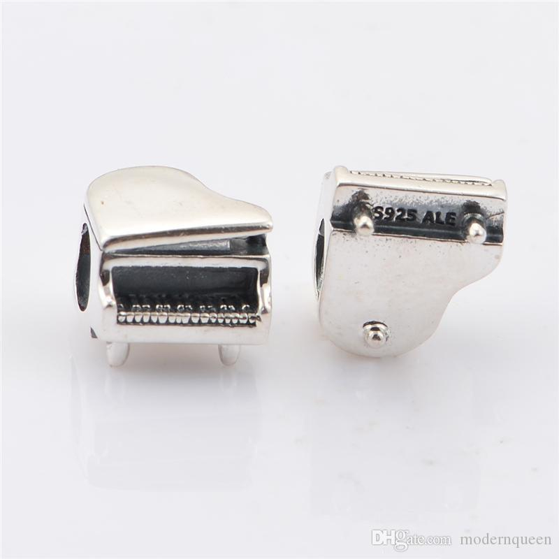 piano charms beads authentic original S925 sterling silver fits for pandora style leaves ALELW447H9