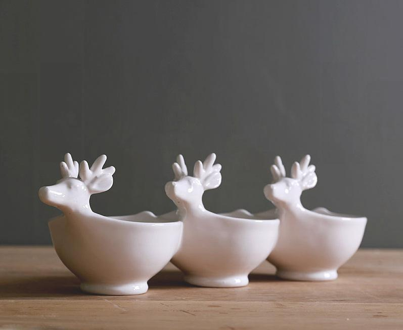 A third straight ceramic tableware cold dish bowl lage craft elk flavor dishes Food Container Porcelain Fruit Bowl